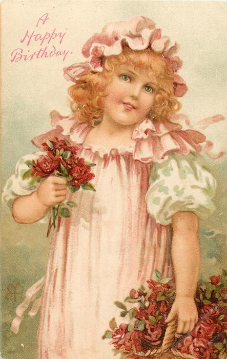 girl with pink dress & red roses