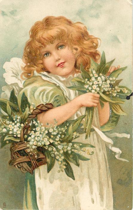 girl with green/white dress & lilies of the valley