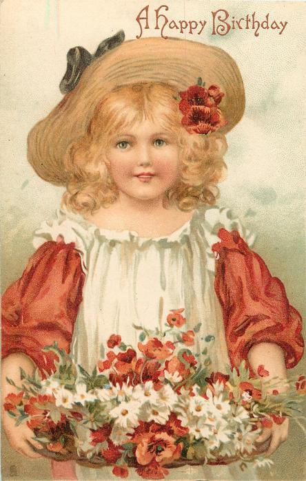 Girl With Redwhite Dress Amp Poppies And Daisies TuckDB