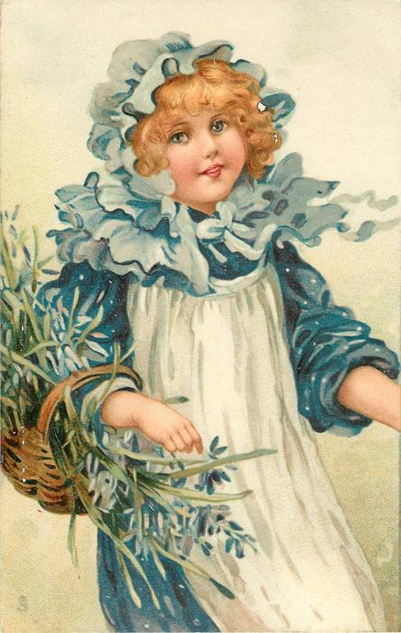 girl with blue/white dress & bluebells