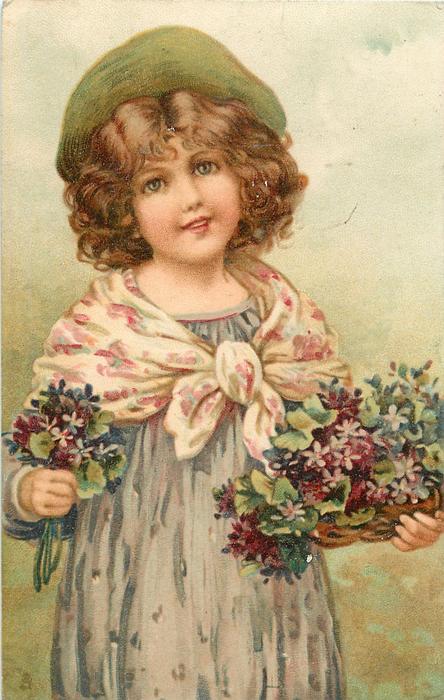 girl in violet dress, purple/white scarf & violets