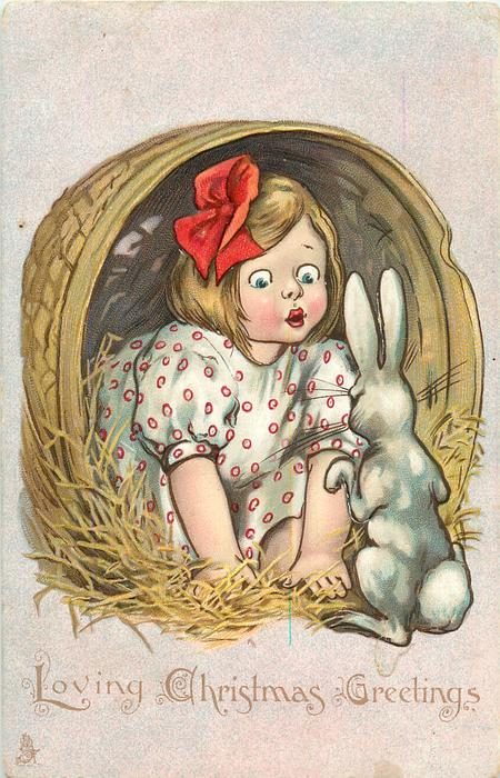LOVING CHRISTMAS GREETINGS  child in basket confronts rabbit