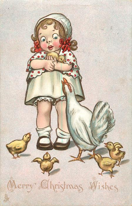 MERRY CHRISTMAS WISHES  child carries chick, chicken and four chicks on ground