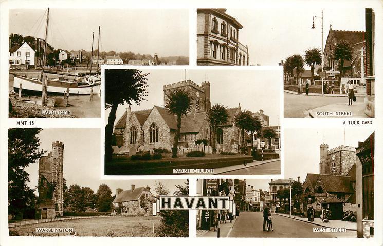 5 insets LANGSTONE/SOUTH STREET/PARISH CHURCH/WARBLINGTON/WEST STREET