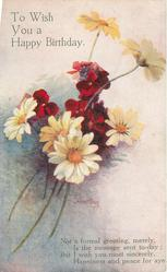 TO WISH YOU A HAPPY BIRTHDAY  yellow daisies & red wallflowers