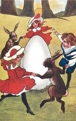 three children & two rabbits join hands/paws dancing round large egg