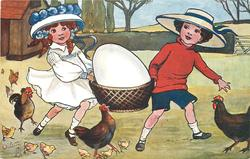 children carry huge egg in basket