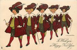 TO WISH YOU A HAPPY NEW YEAR  five girls in old style coaching dress parade left