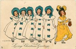 LOVING CHRISTMAS GREETINGS  five ladies in white, with blue bows, to left of one in orange