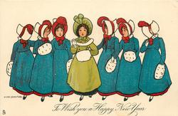 TO WISH YOU A HAPPY NEW YEAR  three ladies in blue on either side of one in green, all have muffs