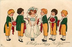 TO WISH YOU A HAPPY NEW YEAR  two boys left & three right on either side of girl, lining up to present boquets