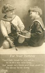FOR YOUR BIRTHDAY two boys in sailor suits, cake between them