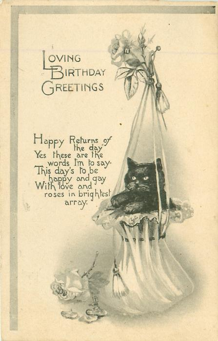 LOVING BIRTHDAY GREETINGS  kitten in bonnet hung from a hook