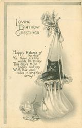 LOVING BIRTHDAY GREETINGS  kitten in bonnet hung from a hook