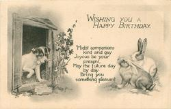 WISHING YOU A HAPPY BIRTHDAY puppy & two rabbits