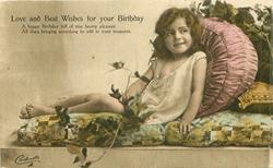 LOVE AND BEST WISHES FOR YOUR BIRTHDAY  girl in nightgown reclining on couch