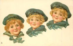 three girls heads, all wearng sailors uniform