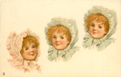 three girls heads, one on left has pink bonnet, other two have green bonnets