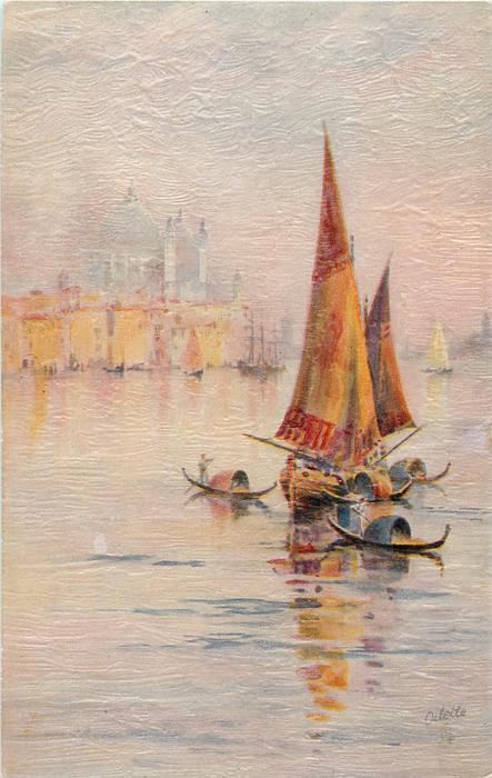 large sailboat right center with four gondolas close, sailboats in distance