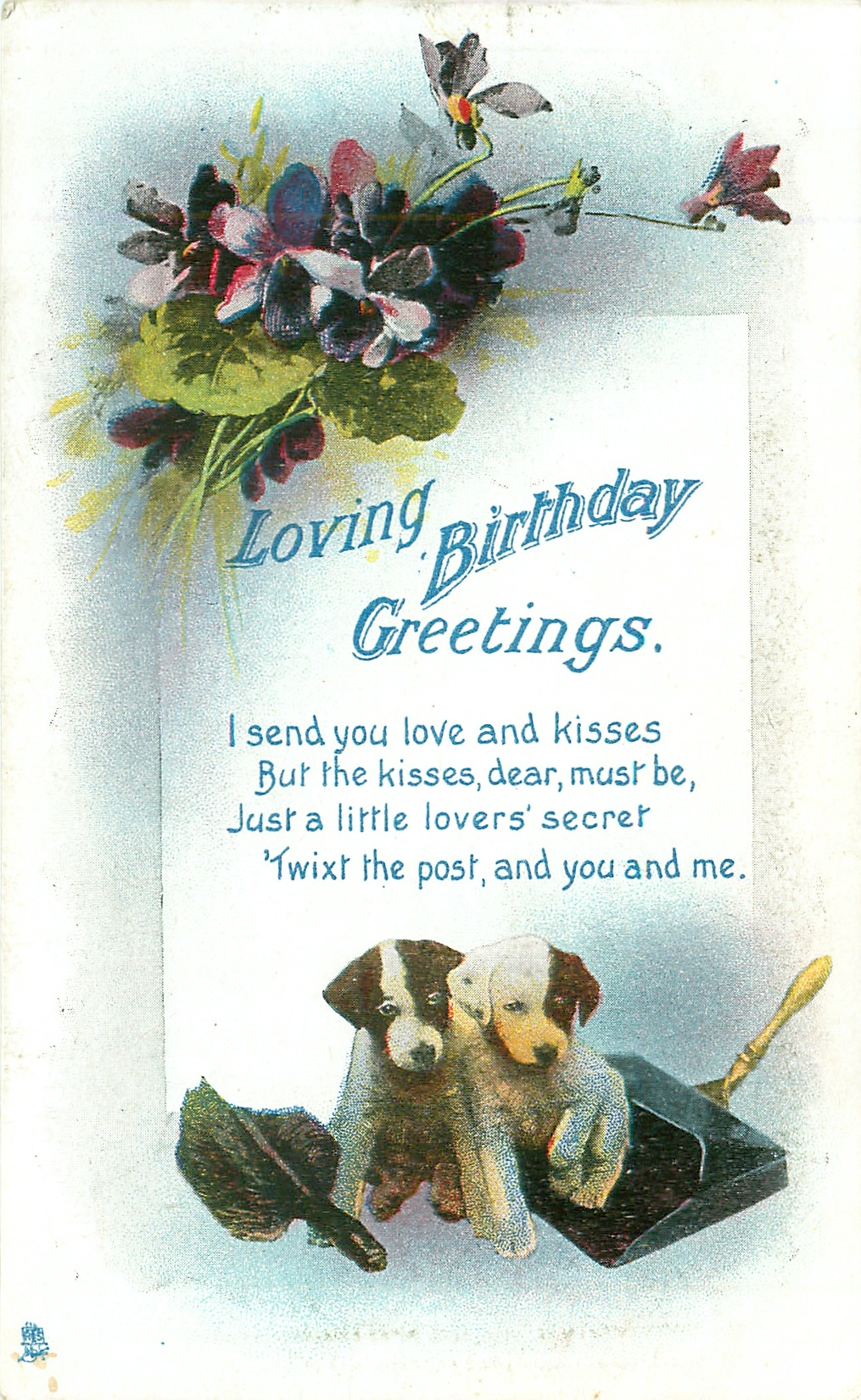 Loving Birthday Greetings Violets Above Two Puppies Tuckdb Postcards