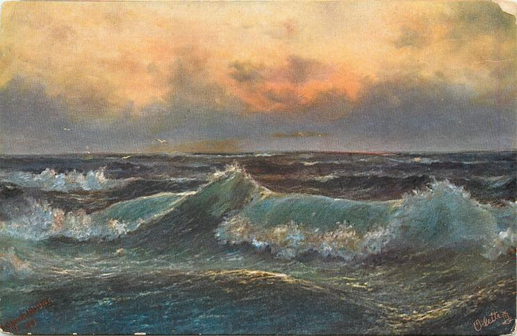 ocean scene, grey/purple sky, red sunlight, deep grey sea, blue wave across middle, four birds back left