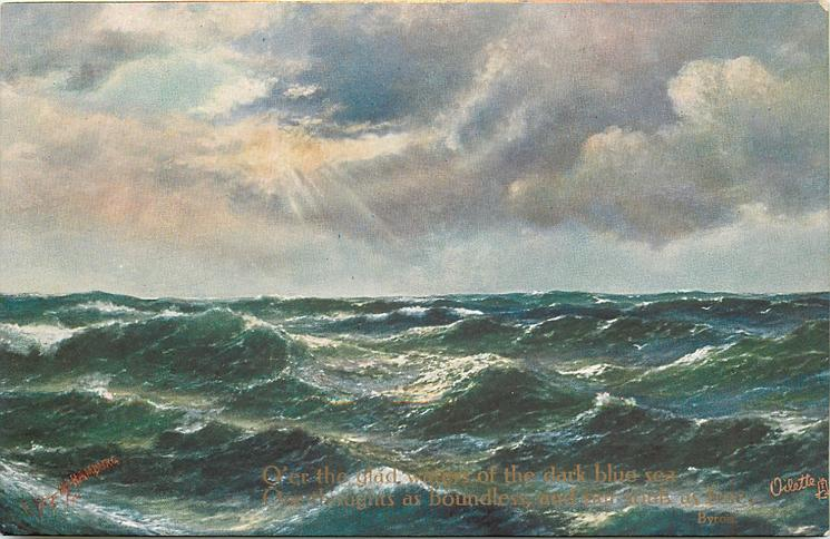 ocean scene, light comes from upper left, whitecaps even across card  and deep blue water, no birds