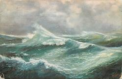 ocean scene, three main wave formations, trough of pale sea in front of middle wave, four birds centre back