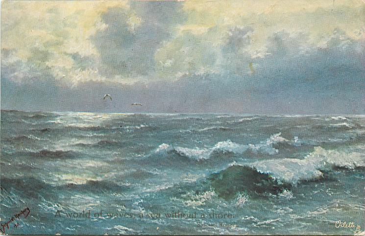 ocean scene, whitecaps mainly lower right, grey blue water, two birds left/centre horizon