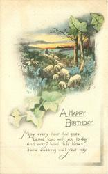 A HAPPY BIRTHDAY  sheep driven front among bluebells, ivy around