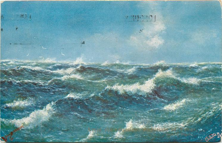 ocean scene, whitecaps, one wave from lower left across up to right, grey blue water, four birds left back