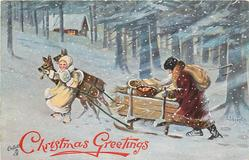 purple robed Santa helps to push sled pulled by two deer encouraged by yellow robed girl