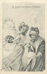 A BRIGHT AND HAPPY CHRISTMAS  two ladies in nouveau style dress, one makes large snowball, the other adorns snowman