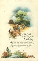 A BRIGHT AND HAPPY BIRTHDAY harvesting scene