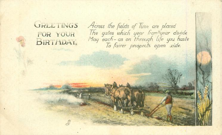GREETINGS FOR YOUR BIRTHDAY ploughing with horses, evening
