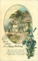 GOOD WISHES FOR A HAPPY BIRTHDAY cottage inset  blue flowers