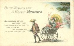 WITH BEST WISHES FOR A HAPPY BIRTHDAY Japanese girl in rickshaw