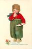 I BRING YOU VALENTINE GREETINGS  Dutch boy with finger in mouth holds valentine