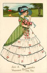 JUST A  VALENTINE REMEMBRANCE FOR YOU  girl in white dress carrying roses, rural inset above
