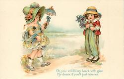 OH YOU WILL FILL MY HEART WITH GLEE MY DEARIE, IF YOU'LL JUST TAKE ME  girl with parasol, boy with flowers