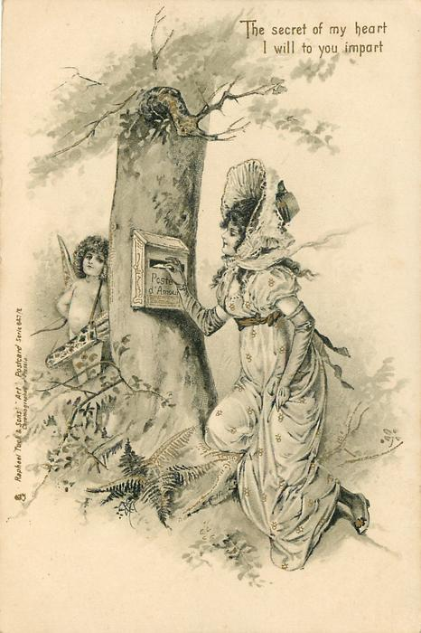 THE SECRET OF MY HEART, I WILL TO YOU IMPART, cupid hides behind tree as lady posts letter