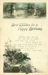 BEST WISHES FOR A HAPPY BIRTHDAY rural inset above, violets below