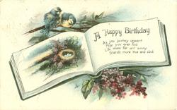A HAPPY BIRTHDAY blue-tits above rural inset & nest in book, lilac below