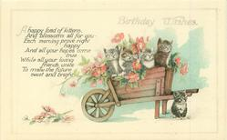 BIRTHDAY  WISHES  four kittens in wheel-barrow & roses