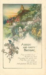 A BRIGHT AND HAPPY BIRTHDAY girl on path picks flowers, michaelmas daisies,cottage back