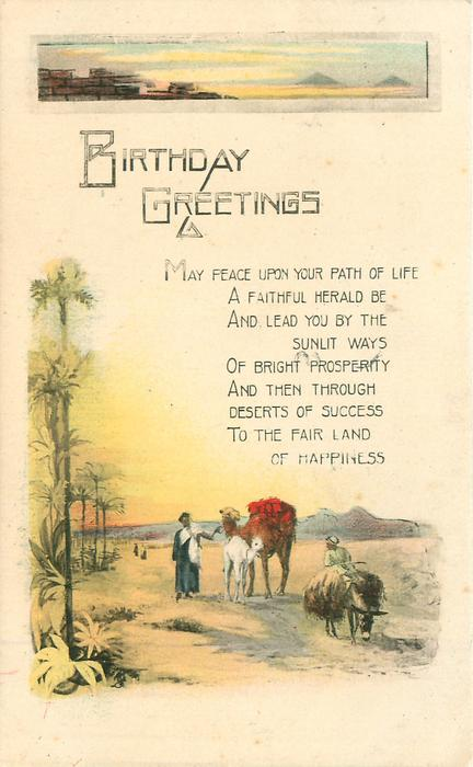 BIRTHDAY GREETINGS Egyptian life, palms, camel, mule, inset of pyramids