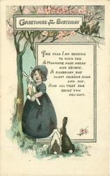 GREETINGS ON YOUR BIRTHDAY girl stands cuddling rabbit under blossom tree, two other rabbits observe from below, two birds from above