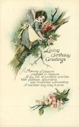 LOVING BIRTHDAY GREETINGS  girl climbs tree for flowers, apple blossom