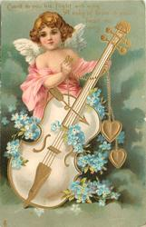 CUPID TO YOU HIS FLIGHT WILL WING A SONG OF LOVE IN YOUR HEART TO SING  cupid supports large cello, blue forget-me-nots