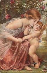 seated pretty girl comforts sad cupid