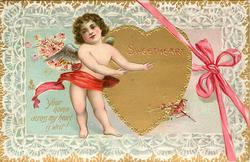SWEETHEART  YOUR NAME ACROSS MY HEART IS WRIT!  cupid, gilt heart & pink ribbon